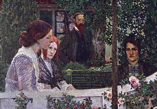 Heinrich Vogeler, Detail aus: Sommerabend (Das Konzert).Worpswede; Detail: Paula Modersohn-Becker, Agnes Wulff, Otto Modersohn und Clara Rilke-Westhoff