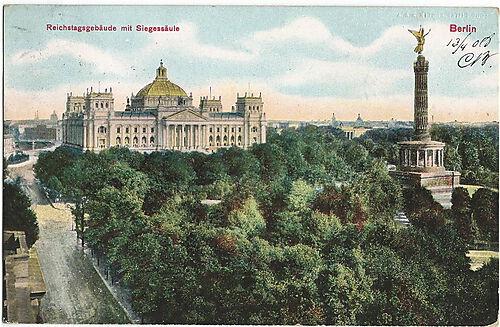 Ansicht von Berlin mit Blick auf das Reichstagsgebäude und der Siegessäule zu Beginn des 20. Jahrhunderts