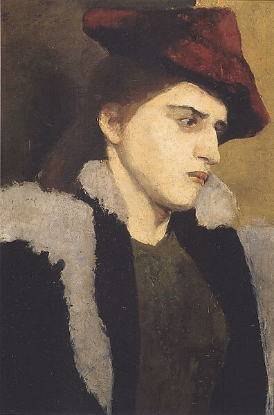 Paula Modersohn-Becker, Bildnis einer jungen Frau mit rotem Hut