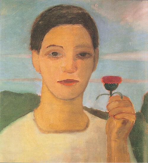 Paula Modersohn-Becker - Bildnis der Schwester Herma mit Artischockenblüte in der erhobenen Hand