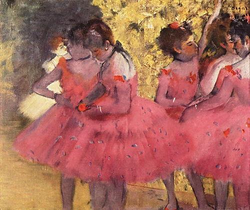 Edgar Degas, Tänzerinnen in Rosa zwischen den Kulissen