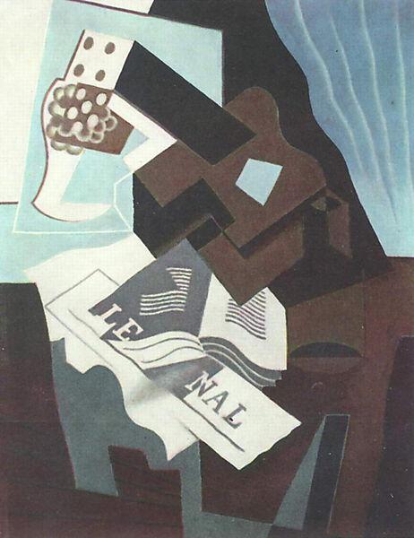 Juan Gris, Stilleben mit Gitarre, Buch und Zeitung