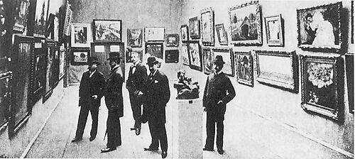 Der Vorstand der Berliner Secession in der II. Secessionsausstellung 1900. Max Liebermann 2. v.r.