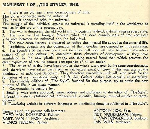 Manifest I von De Stijl, 1918, englische Fassung