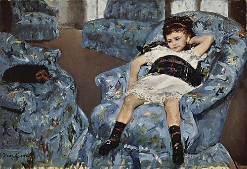 Mary Cassatt, Kleines Mädchen im blauen Fauteuil, 1878