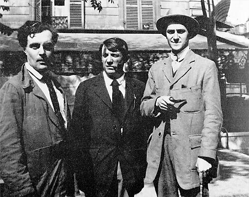 Fotografie, Modigliani, Picasso und André Salmon vor dem Café de la Rotonde, Paris