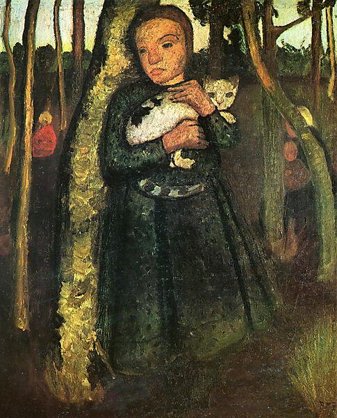 Paula Modersohn-Becker, Mädchen mit Katze im Birkenwald