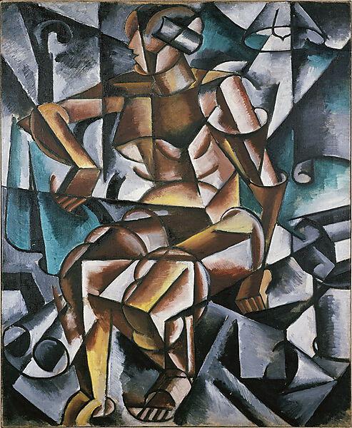Ljubow Sergejewna Popowa, (Kubofuturismus): Sitzender weiblicher Akt
